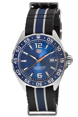 New Tag Heuer Formula 1 Quartz Blue Nato Strap Men's Watch WAZ1010.FC8197