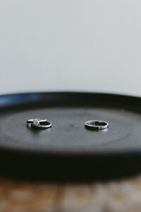 White gold wedding bands and diamond engagement ring