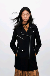 Zara black biker wool coat NWT