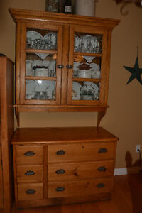 Antique Solid Pine Buffet and Hutch For Sale