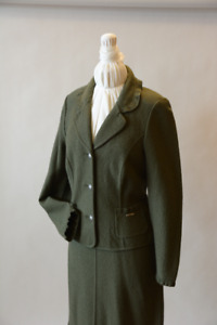 2Pc Loden Green Suit with Ruffle Finished Edges (size 8 and 10)