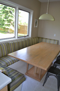Large Built-In Banquet and Table, Cloth Seating, Solid Wood Tabl