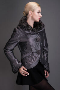 Brand new silver purple coat with natural sheep fur collar, S