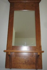 Attractive Wood Frame Wall Mirror with Shelf