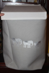 Elephant Motif Child's Canvas Hamper (w. Lid and Handles)
