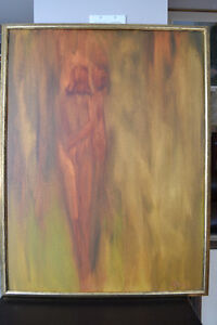 LARGE ORIGINAL OIL ON BOARD ABSTRACT PAINTING 34 X 26 INCHES