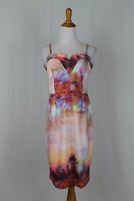 Venus Multicolor Watercolor Print Spaghetti Strap Sheath Sundress Dress Size 8