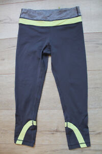 Lululemon Run Inspire Crop in grey and yellow, size 2/4