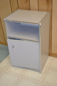 MINT Vintage GREY End Table Cabinet with Door 1970s
