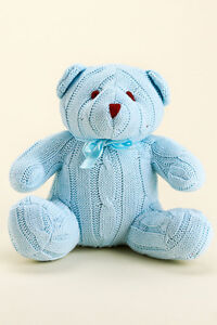 Tots Fifth Avenue Boy's/Blue Cable Knit Teddy Bear NWT Gift