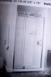 1 BRAND NEW 48 IN. SHOWER DOORS   THICK GLASS