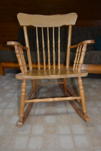 Two Antique / Vintage Solid Rocking Chairs,  and Plastic Rocker