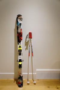 Used! Rossignol S7 Pro Skis, Bindings, And Poles. Youth Boys.