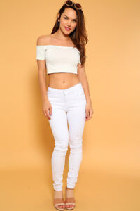 Women White Jeans Pants (Blue Notes)Brand New!