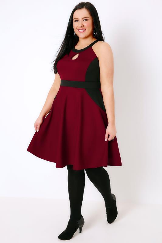 9f1f73b4819 Kleid Gr.52 Stretch Kurzkleid Sommerkleid Damen schwarz rot Festlich  Knielang