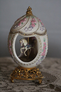 FRANKLIN MINT FABERGE CAROUSEL EGG ON STAND