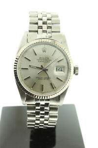 Rolex Datejust 36mm Steel Silver Dial 18K White Gold Bezel 16014