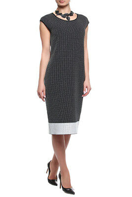 ESCADA KNIT PLOKA DOT SHEATH MIDI DRESS sx XS Ploka Dot