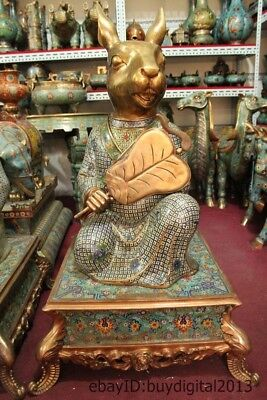 "40"" Chinese Royal Bronze Copper Cloisonne Gild Zodiac Year Animal Rabbit Statue"