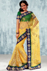 BRAND NEW - Designer Yellow, Blue & Green Saree for $200