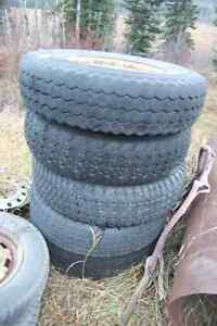 4 assorted 235/85 16 Tires 2 ford 8 hole wheels Prince George British Columbia image 1