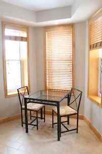 Beautiful Glass Top Wrought Iron Table + 2 Chairs Peterborough Peterborough Area image 1