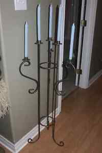 Pewter Color Metal Candelabra: nice decorated with holly at Xmas