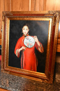 Oil Painting of Asian Girl in Solid Wood Frame