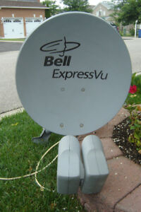 "MUST SELL 22"" BELL SATELLITE EXPRESS VU DUAL LNB'S & SW44 SWITCH"