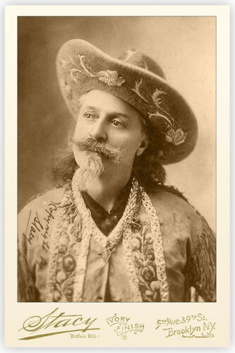 """WILLIAM F. """"BUFFALO BILL"""" CODY Old West Legend Vintage Photo Cabinet Card RP"""