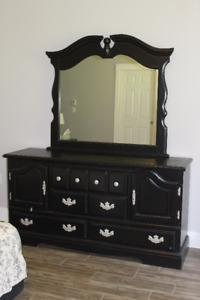solid maple dresser painted black