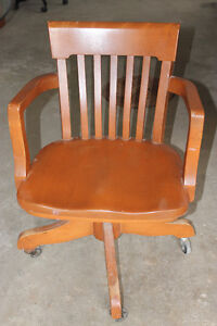 Two wooden desk chairs