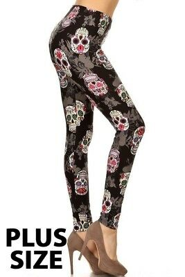 EXTRA PLUS SIZE BLACK PINK SUGAR SKULL LEGGINGS ONE SIZE 1X 2X 3X 4X 5X TRUE SZ