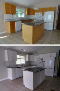 Kitchen cabinet painting, refacing or replacing starting at $800