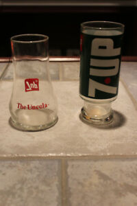 2 Different 7 Up glasses