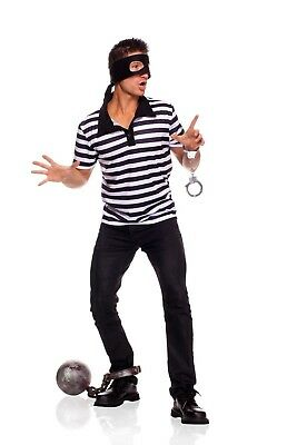 BIG SALE 3 pc Prisoner Jail House Men's Halloween Costume Shirt Handcuffs Mask ](Jail Man Halloween)
