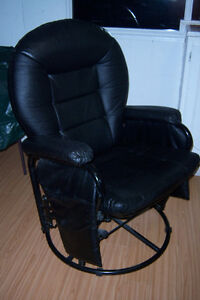 Black Fuax  leather rocker / recliner