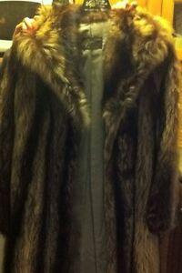racoon full lenght fur coat