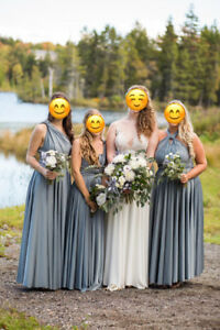 FIVE Long Convertible Grey Wrap Bridesmaids Dresses