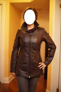 Danier brown leather jacket with warm removable liner