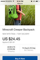 GREEN MINECRAFT BACKPACK