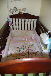 Pink Owl Themed Crib Set & Decor