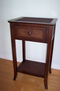Tall Table with Drawer (wood and wicker)