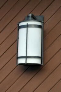Light Fixture - Outdoor, Vertical Oval Glass Tub In Iron Cage