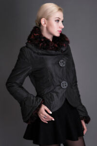 Brand new black coat with natural sheep fur collar, size S