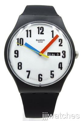 New Swatch Swiss Originals ELEMENTARY Black Silicone Day-Date Watch 41mm SUOB728