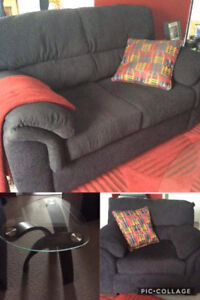 Love seat, chair and end table