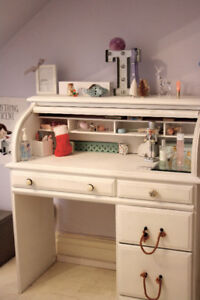 Roll top desk solid pine wood painted white