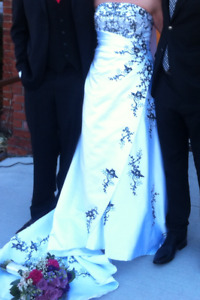 White with Black Strapless Wedding Gown