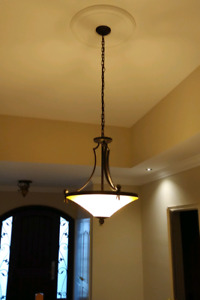 Central staircase hanging light fixture - bronze/antique color